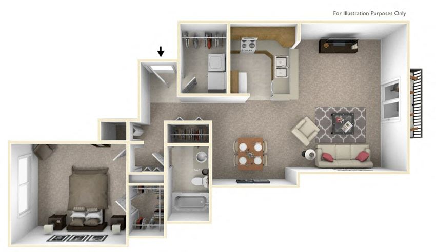 1-Bed/1-Bath, Gerbera Floor Plan at The Harbours Apartments, Michigan