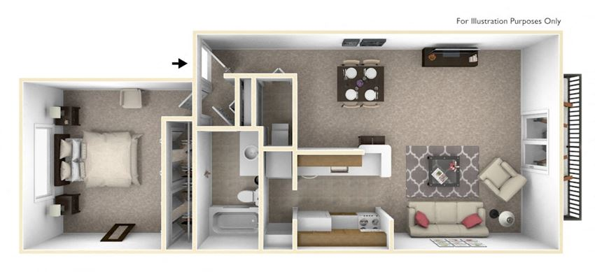 1-Bed/1-Bath, Winterberry Floor Plan at The Harbours Apartments, Clinton Twp, MI, 48038