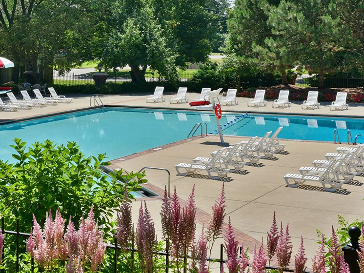 Pool at The Village Apartments, Wixom, MI, 48393