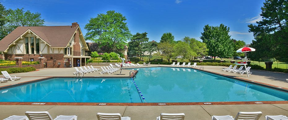 Outdoor Swimming Pool at The Village Apartments, Michigan, 48393