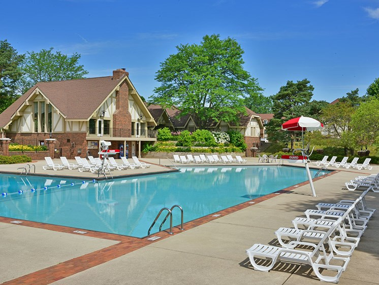Swimming Pool and Sundeck at The Village Apartments, Wixom, MI, 48393