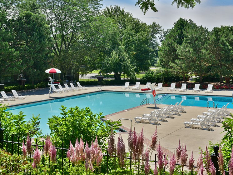 Scenic Pool Surroundings at The Village Apartments, Michigan