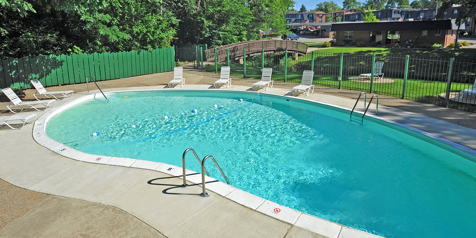 Outdoor swimming pool at Timberbrook Apartments, Peoria