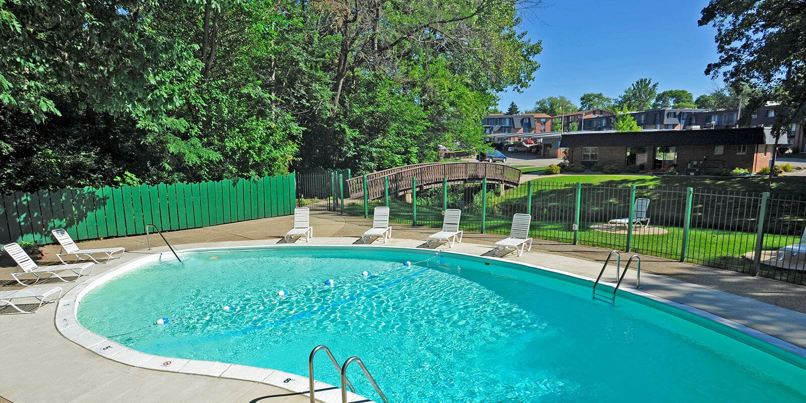 Outdoor swimming pool at Timberbrook Apartments, Peoria
