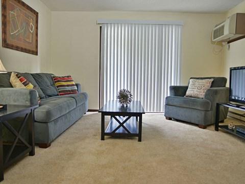 Spacious Living Room at Timberlane Apartments, Peoria, Illinois