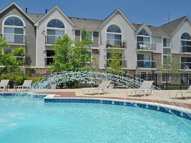 Poolside Lounge Area at Westlake Apartments, Belleville, Michigan