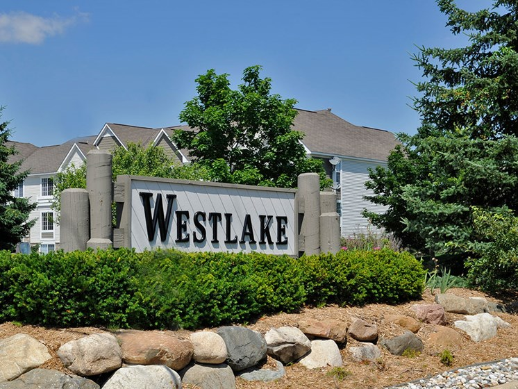 Entrance Sign at Westlake Apartments, Michigan