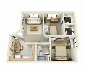 Two Bedroom Apartment Floor Plan at Sky Harbor Apartments