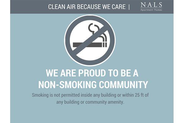 Cobble Creek Apartment Community proud to be a non-smoking community. Smoking is not permitted inside any building or within 25-ft.
