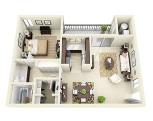 One bedroom one bathroom at Cobble Creek Apartments in salt lake city utah