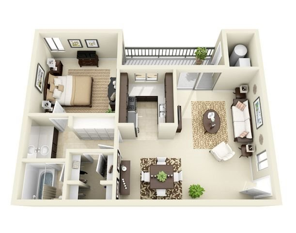 Quail 1 Bedroom 1 Bath Floor Plan 3D Image