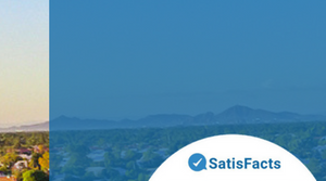 Arial Image of our apartment community with a Satisfacts Resident Satisfaction banner going across the image