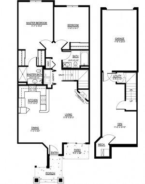 OC - 2 Bed, 2 Bath + Den w/ 1 Car Garage - Lower Interior