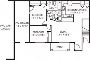 2 Bedroom 2 Bath Lower