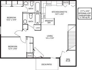 FH - 2 Bed + Den, 2 Bath Loft w/ Fireplace
