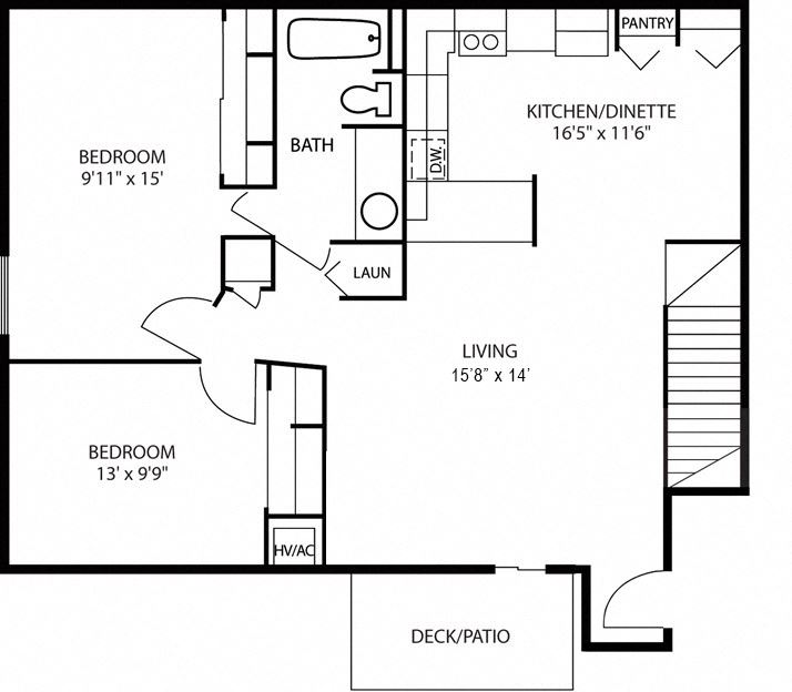 2 Bedroom 1 Bathroom lower units with private entry and large eat in kitchen