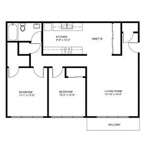 Garden - 2 Bed, 1 Bath - Alternate Kitchen (Phase 1)
