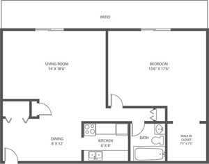 AC - 1 Bed, 1 Bath - 879sqft