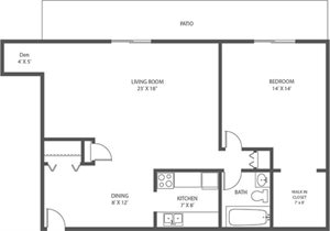 AC - 1 Bed, 1 Bath + Den - 899sqft