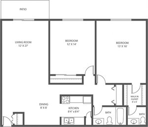 AC - 2 Bed, 1.5 Bath - 1156sqft