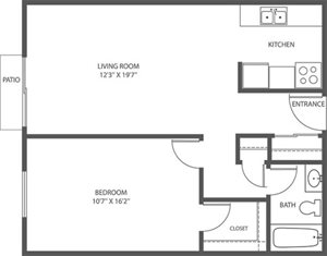 CS - 1 Bed, 1 Bath - 621sqft