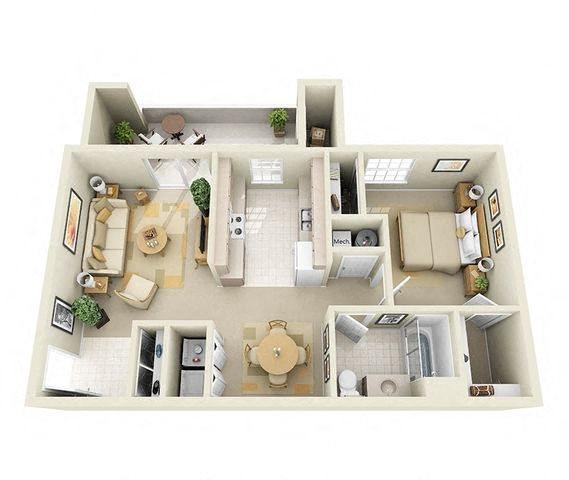 Latigo 1 Bedroom 1 Bathroom Floor Plan