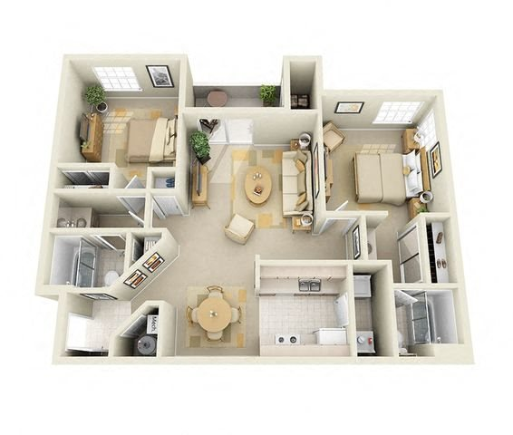 Alisal 2 Bedroom 2 Bathroom Floor Plan