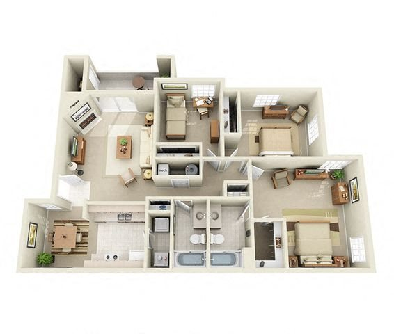 Anacapa 3 Bedroom 2 Bathroom Floor Plan