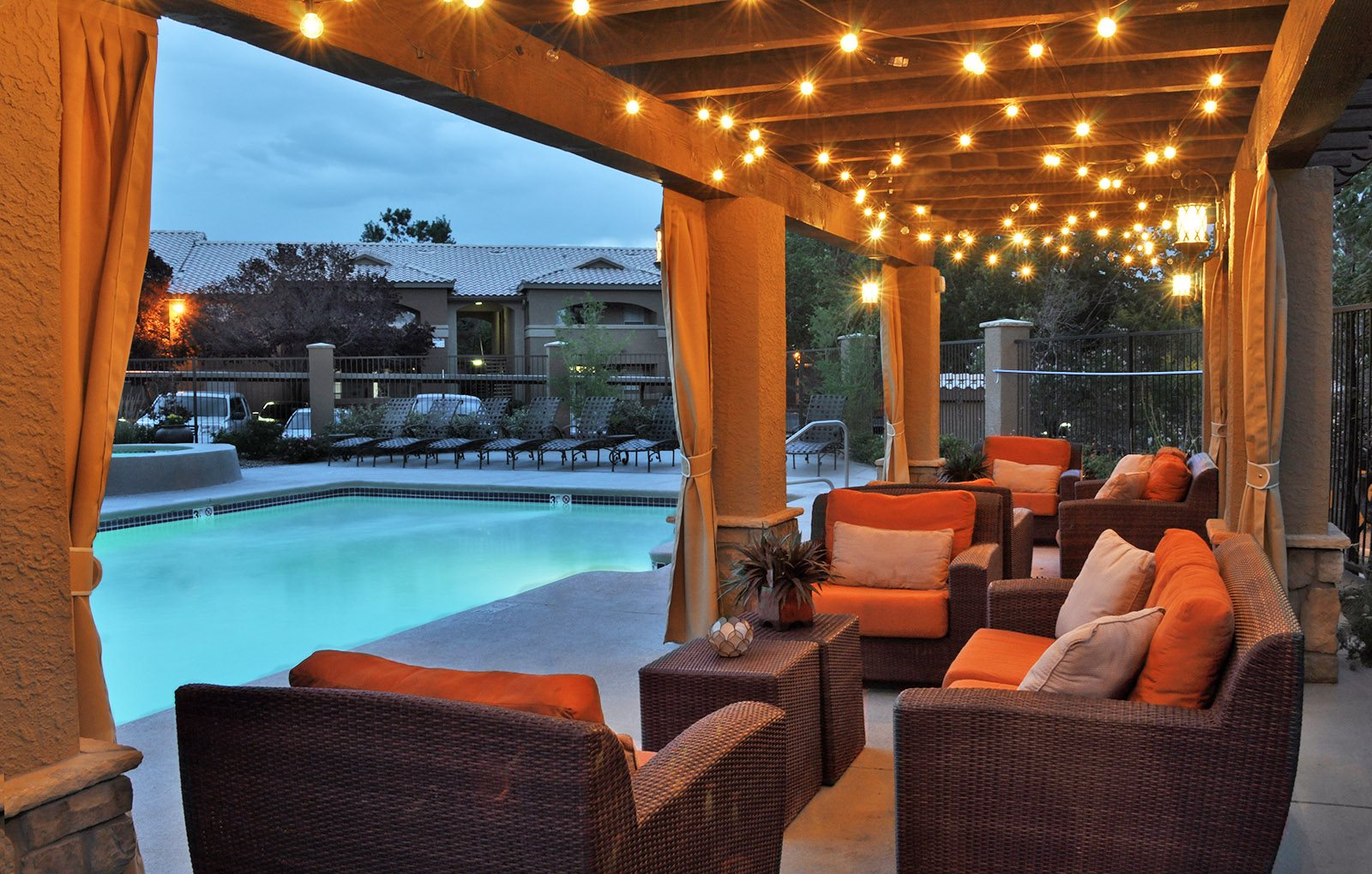 Poolside Lounge at Night