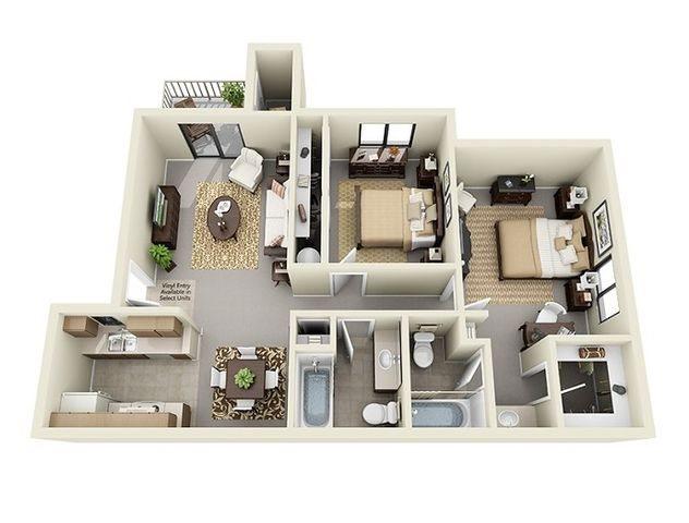 two bedroom apartments at Saddle Ridge Apartments in Oro Valley near Tucson, AZ