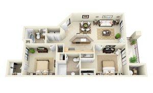 Sedona | 2 Bedroom 2 Bathroom Floor Plan