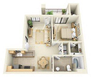 Kino | 1 Bedroom 1 Bathroom Floor Plan