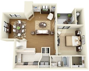 Antigua | 1 Bedroom 1 Bathroom Floor Plan