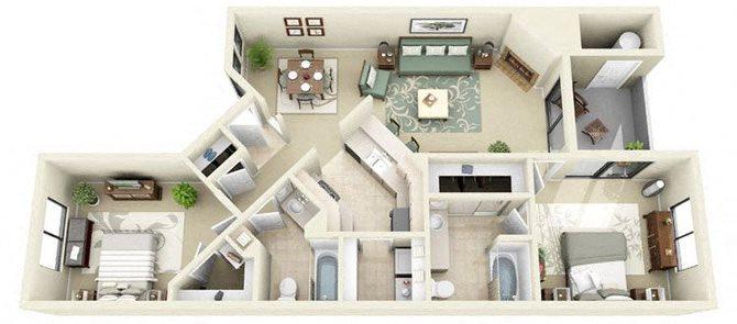 St. Bart | 2 Bedroom 2 Bathroom Floor Plan
