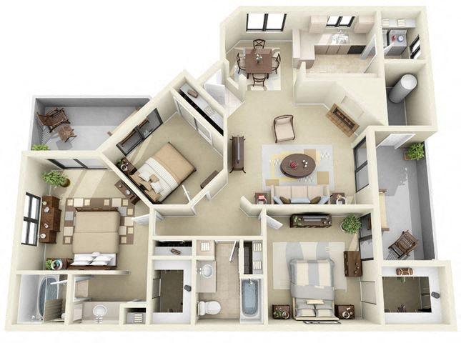St. Croix | 3 Bedroom 2 Bathroom Floor Plan