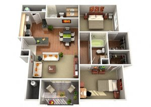 Primrose Floor Plan 2 Bedroom 2 Bath