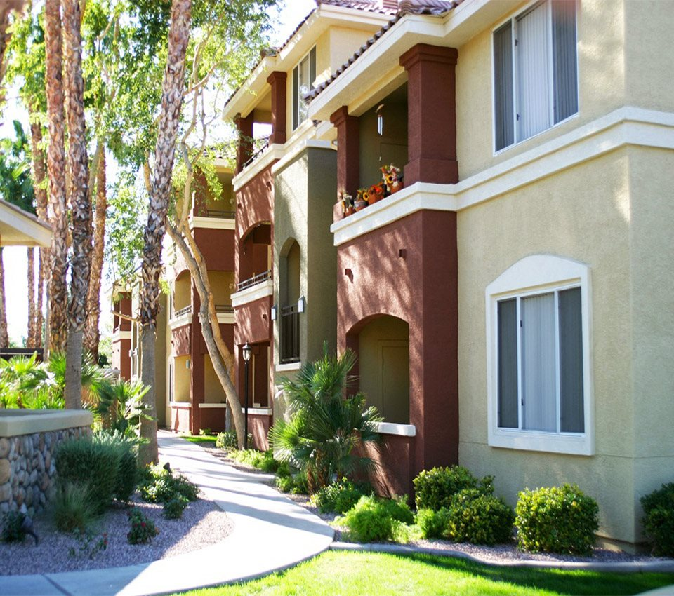 Image of the exterior of our apartments and walking paths