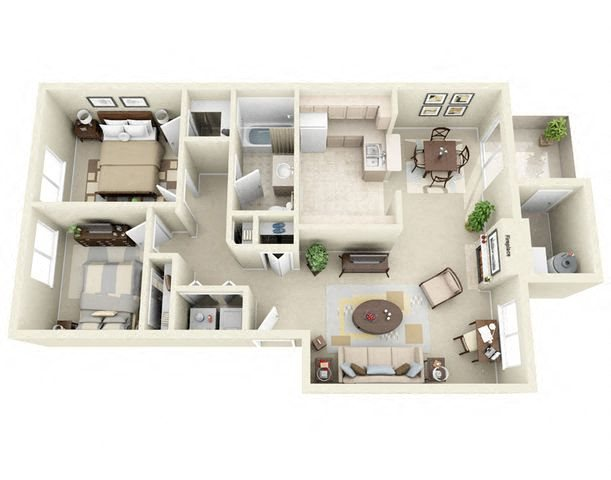 two Bedroom Bath apartments