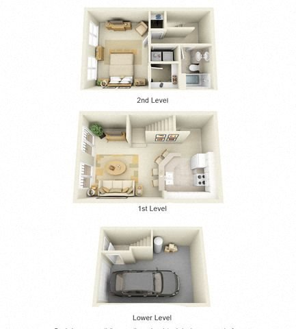 Harlequin One Bedroom One Bath Floor Plan 3D Image