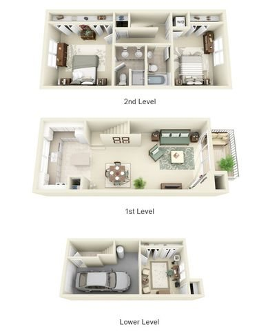 Tapestry Two One Bedroom Two Bath Floor Plan 3D Image