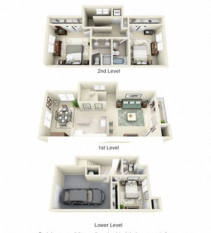 Filigree Three Bed and Three Bath Floor Plan 3D Image