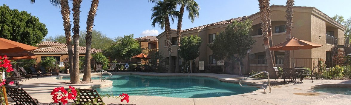 Image of the pool area and the exterior of our apartments in phoenix, az