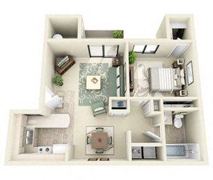 Windsor | 1 Bedroom 1 Bathroom Floor Plan