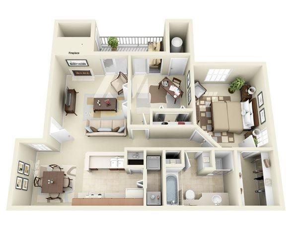 Highland Floor Plan two bedroom apartmentat hunter's ridge apartments in albuquerque, nm