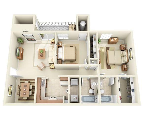 Remington Floor Plan Two Bedroom Apartment at Hunter's Ridge Apartments in Albuquerque