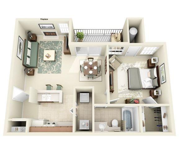 Sierra Floor Plan One Bedroom Apartment at Hunter's Ridge Apartments in albuquerque, nm