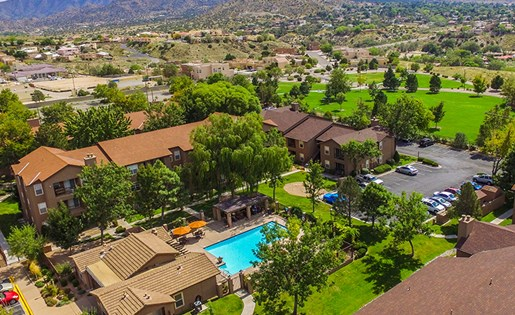 Aerial View from Drone Above Hunter's Ridge Apartments in Albuquerque 87123