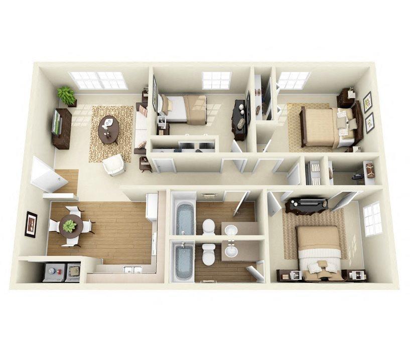 Chamisa 3 Bedroom 2 Bathroom floorplan