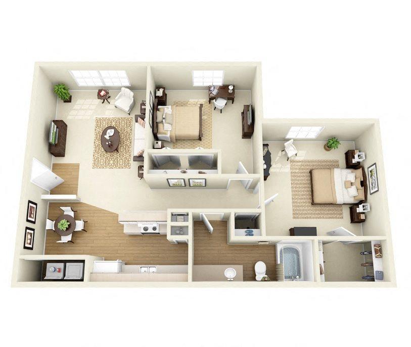 Pinon 2 Bedroom 1 Bathroom floorplan