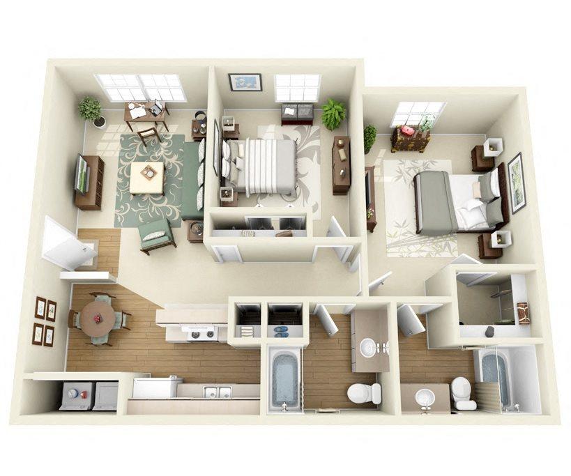 Sage 2 Bedroom 2 Bathroom floorplan